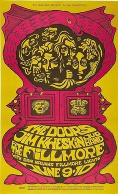 The Doors and Jim Kweskin Jug Band- Fillmore West Classic rock music concert poster psychedelic ☮ ☮❥Hippie Style❥☮☮ Jim Morrison, Psychedelic Rock, Psychedelic Posters, Gig Poster, Tour Posters, Band Posters, Vintage Concert Posters, Vintage Posters, Retro Posters