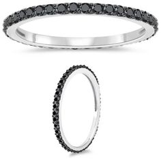 Cts Black Diamond Eternity Ring in White Gold & Black Rhodium * Engagement Rings And Wedding Bands Black Diamond Bands, Diamond Rings, Diamond Engagement Rings, Diamond Jewelry, Black Diamonds, Eternity Ring Diamond, Eternity Rings, Black Rhodium, White Gold