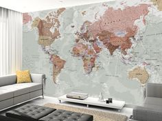 Executive Political World Map wall mural living room preview