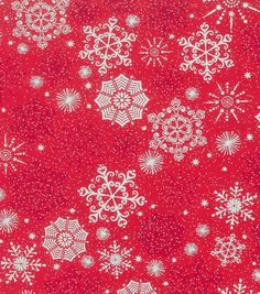 Holiday Inspirations Fabric-Christmas Snowflake Red Metallic