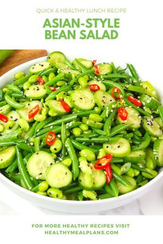 This bright & fresh Asian-Style Bean Salad starts with green beans, mini cucumbers, and shelled edamame! It is topped with a flavourful dressing and is a great lunch option or side for dinner! Lunch Recipes, Baby Food Recipes, Kid Recipes, Healthy Recipes, Healthy Green Beans, Green Bean Salads, Picky Toddler Meals, Toddler Dinners, Toddler Lunches
