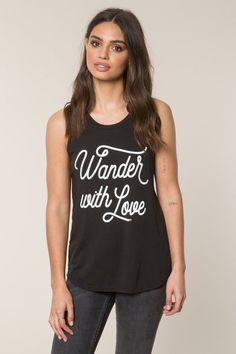 d001cc54de3e45 Spiritual Gangster Wander With Love Script Muscle Tank - Vintage Black