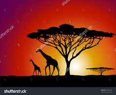 Image result for african tree silhouette images