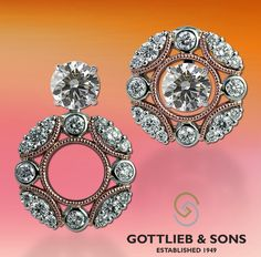 Rose and white gold ‪#‎Diamond‬ Convertible Earring Jackets. These earrings allow you to wear with your diamond studs for three unique ways. Visit your local ‪#‎GottliebandSons‬ retailer and ask for style number 29584B. http://www.gottlieb-sons.com/product/detail/29584B