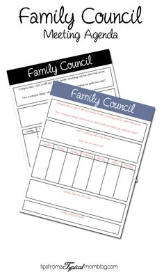Family Counsil Meeting Agena Free Printable