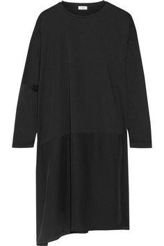 Jil Sander - Cutout Cotton-jersey And Silk Dress - Black -