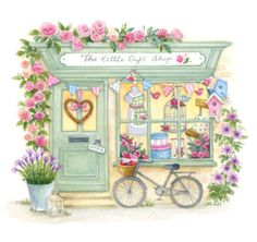 Lisa Alderson - The little gift shop aw. Illustration Mode, Illustrations, Little Gifts, Cute Drawings, Cute Art, Mail Art, Watercolor Paintings, Watercolours, Artsy
