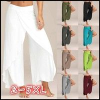 Women Fashion High Slit Wide Leg Loose Casual Yoga Pants,8 Colors,S-5XL Brand: Jamickiki Welcome t