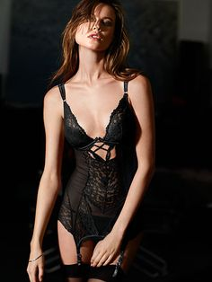Black lace: classic and always sexy. | Victoria's Secret #Fearless Cutout Garter Slip