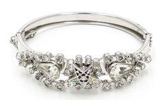 Rhinestone Order Of The Eastern Star Hinged Bangle Bracelet Vintage