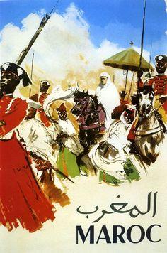 Maroc Morocco Man Horse Arabic Travel Vintage Poster Advertising Repro FREE SHIP