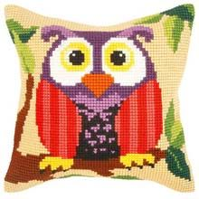 Orchidea Owl Pillow Cover Needlepoint Kit - Herrschners