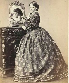 1860s Victorian fashion with gorgeous fabric fabric