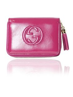10eb35f1b97 GUCCI Soho Interlocking GG Hot Pink Fuchsia Patent Leather Small Wallet   350.00 http