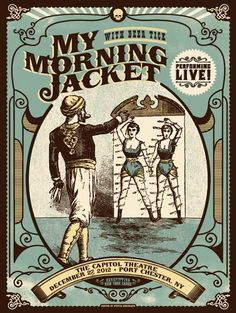 My Morning Jacket/Deer Tick - Port Chester, NY - Status Serigraph Retro Graphic Design, Graphic Design Typography, Graphic Design Illustration, Graphic Design Inspiration, Rock Posters, Band Posters, Concert Posters, Gig Poster, My Morning Jacket