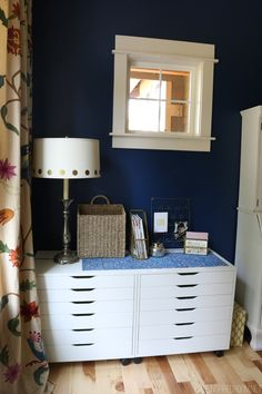 Deep Navy Walls - The Inspired Room Office Progress