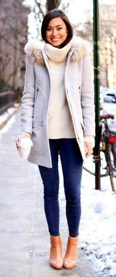 #winter #fashion / Grey Coat / White Turtleneck / Navy Skinny Jeans / Camel Leather Booties