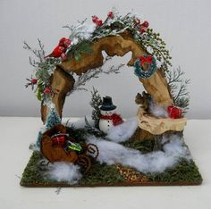 Christmas Winter OOAK Fairy Garden Display, Miniatures, Jan's Flowers and Frills on eBay