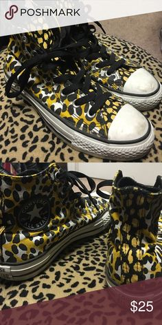 Leopard converse Gently worn.. still look new except for the  white tips as shown in pic.  😉 Converse Shoes Sneakers