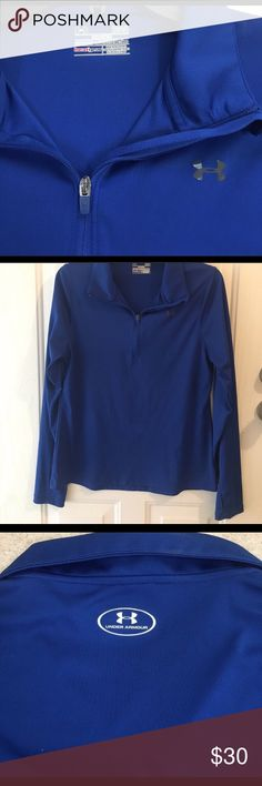 under armour royal blue long sleeve top Like new. Silk like material. No flaws. No staining or holes. Royal blue with silver logo. Under Armour Tops