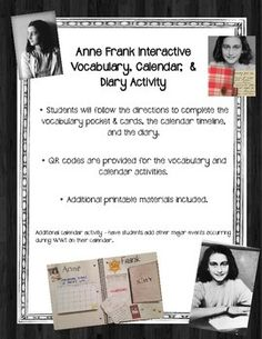 This interactive notebook activity can be created at the end of a unit or as an extension activity in correlation to The Diary of Anne Frank.Students will create a vocabulary pocket with important terms and definitions about the events occurring during WWII when Anne Frank and her family were in hiding.