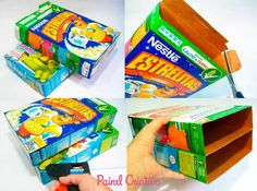 passo a passo caixa organizadora papeis reciclagem caixa cereal (1)