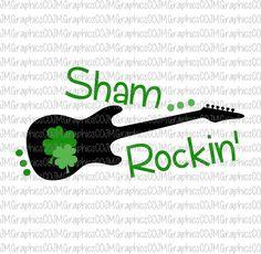 Sham Rockin svg, eps, dxf, png, cricut, cameo, scan N cut, cut file, st patricks day svg, shamrock svg, 1st st patricks day svg, guitar svg by JMGraphicsCO on Etsy