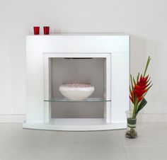 ELECTRIC WHITE GREY MODERN 2KW PEBBLE WALL FREESTANDING FIRE - FIREPLACE SUITE