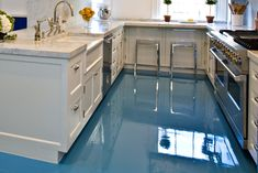 Ultimate Guide to Epoxy Flooring Kitchen : Casual Stools Closed Nice Counter Plus Double Sink Under