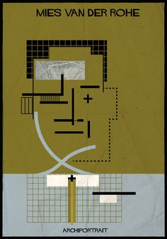 ~ Mies van der Rohe Archi portrait by Federico Babina Ludwig Mies Van Der Rohe, Walter Gropius, Zaha Hadid, Architecture Drawings, Modern Architecture, Historic Architecture, Architecture Quotes, Ronchamp Le Corbusier, Famous Architects