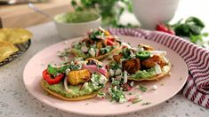 Butternut Squash Tostadas with Pickled Chilis and Avocado Crema