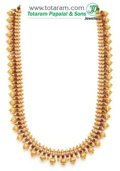 22K Gold Double Side Design Long Necklace (Temple Jewellery) GN345 - Indian Gold Jewelry from Totaram Jewelers