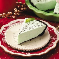 Quick Grasshopper Pie Recipe -My family looks forward to this fluffy pie every Christmas. No one can resist the combination of refreshing mint and luscious chocolate. Plus, the six-ingredient recipe is a snap to prepare—and the pretty pastel green color is festive for the occasion.—Lindsey Dorn, New Glarus, Wisconsin