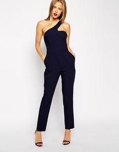 ASOS One Shoulder Cut Out Jumpsuit - How chic is this one-shoulder jumpsuit? I would complete the look with statement lips. http://asos.do/3hubRE