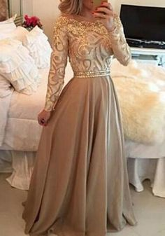 Golden Patchwork Brown Draped Boat Neck Long Sleeve Maxi Dress