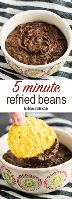 5 Minute Homemade Refried Beans Recipe - Build Your Bite #refriedbeans #vegan #glutenfree #homemaderefriedbeans