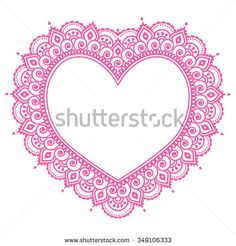 Heart Mehndi pink design, Indian Henna tattoo pattern - love concept, Valentine's Day background by RedKoala