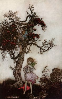 """His children were as ragged and wild as if they belonged to nobody.""  —Washington Irving, ""Rip Van Winkle""  Illustration by Arthur Rackham, 1905"