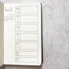 Bullet journal weekly layout, one paged bullet journal weekly layout. | @bulletjournal.emily