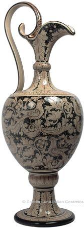 Ceramic Maiolica Anfora Pitcher Black White Birds
