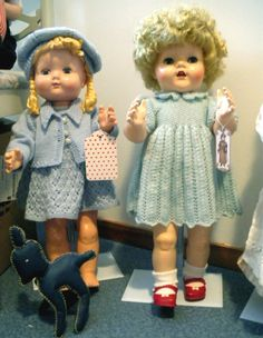 Two sweet vintage hard plastic dolls in home knitted clothes. Made by me from vintage pattern by Marjorie Fanges. I hope she don't mind.