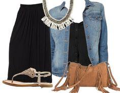 Une jupe longue, des sandales, un sac à frange ET une veste en jean! Tout est réuni pour un look babacool !