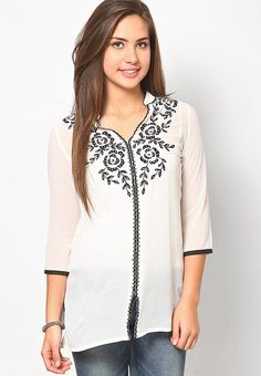 This tunic is designed as per the latest trends and fashioned using quality cotton. This beautiful creation will give you a trendy look when clubbed with matching leggings and sandals. - cooliyo.com