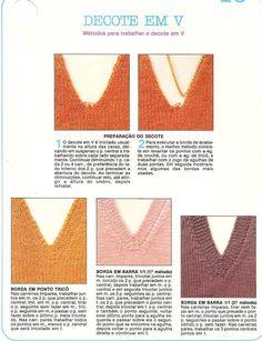 Blog By Day: Post Help :: Dúvidas Sobre Gola V e Costura Crochet Top, Stitch, Knitting, Blog, Handmade, Women, 1, Cord, Alice