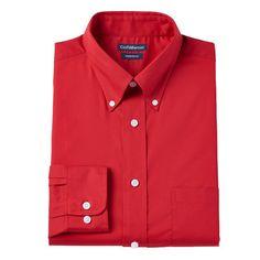Men's Croft & Barrow® Slim-Fit Button-Down Collar Dress Shirt - Men, Size: 18-34/35, Med Red