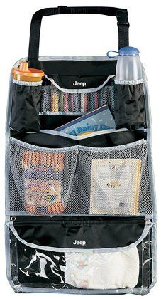 Jeep Backseat Organizer - We have a Diono: http://www.diapers.com/p/diono-stuff-n-scuff-197721  And absolutely love that it protects our seats! We keep any essentials in the diaper bag as it freezes in ND so don't like to leave anything out in the vehicle other than a book or two.