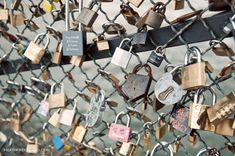 Locks of Love in Paris where couples write their names & special love date on the locks & throw the keys into the water. <3