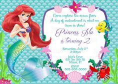 Printable Princess Ariel The Little Mermaid Birthday Party Invitation
