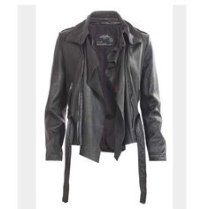 SALEAll Saints Damson Blk Leather Jacket Black 100% Real leather jacket. Good condition. Can be worn two ways open and closed. You can also detach the drape by zipper. No trades No low balling No PP. Sais size 10 which fits like a small . No stains rips or tears. All Saints Jackets & Coats