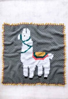 Sewing Blankets This modern crochet llama or alpaca blanket pattern is perfect for a baby afghan or adult throw. The pom pom edging completes the corner-to-corner-crochet look! Crochet Afghans, Crochet Baby Blanket Beginner, Crochet Blanket Patterns, Crochet Blankets, Beginner Crochet, Free Crochet, Baby Afghans, C2c Crochet Blanket, Modern Crochet Patterns
